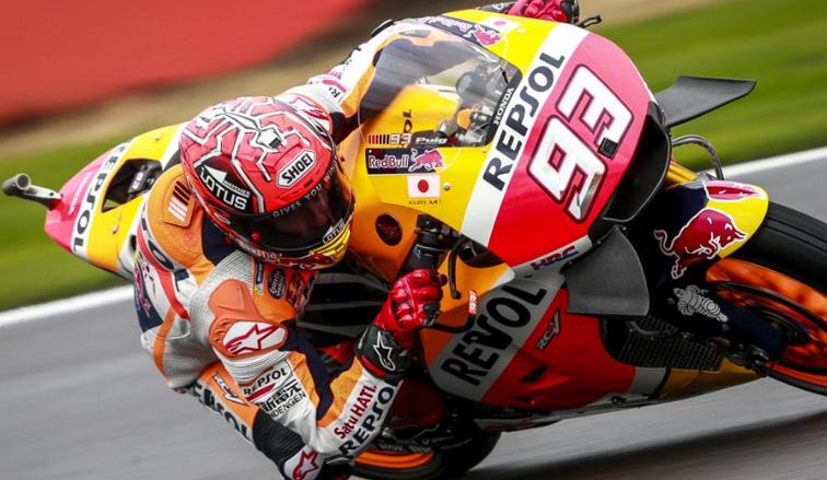 MotoGP: Márquez el más rápido bajo la lluvia